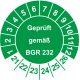 Prüfplaketten 'Geprüft gemäß BGR 232'