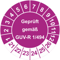 Prüfplaketten 'Geprüft gemäß GUV-R 1/494'