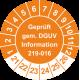 Prüfplaketten 'Geprüft gem. DGUV Information 208-016'