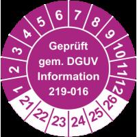 Prüfplaketten 'Geprüft gem. DGUV Information 219-016'