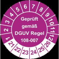 Prüfplaketten 'Geprüft gemäß DGUV Regel 108-007'