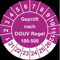 Prüfplaketten 'Geprüft nach DGUV Regel 100-500'