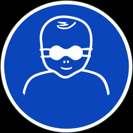 """Aufkleber """"Kleinkinder durch weitgehend lichtundurchlässige Augenabschirmung schützen"""""""