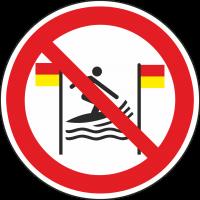 """Schilder """"Surfen zwischen rot-gelber Flagge verboten"""""""