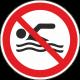 """Aufkleber """"Schwimmen verboten"""""""
