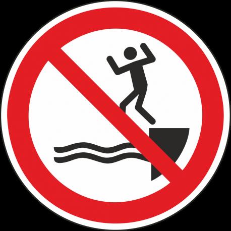 """Aufkleber """"Ins Wasser springen verboten"""""""