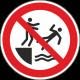"""Aufkleber """"Ins Wasser stoßen verboten"""""""