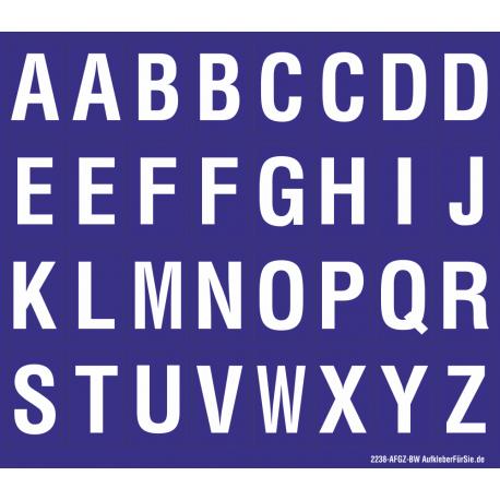 Buchstabenaufkleber, Blau - Weiß, Alphabet