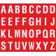 Buchstabenaufkleber, Rot - Weiß, Alphabet