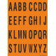 Buchstabenaufkleber, Orange - Schwarz, Alphabet