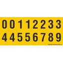 Buchstabenaufkleber, Gelb - Schwarz, Ziffern 0-5 + 0-9