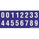 Buchstabenaufkleber, Blau - Weiß 0-5 + 0-9