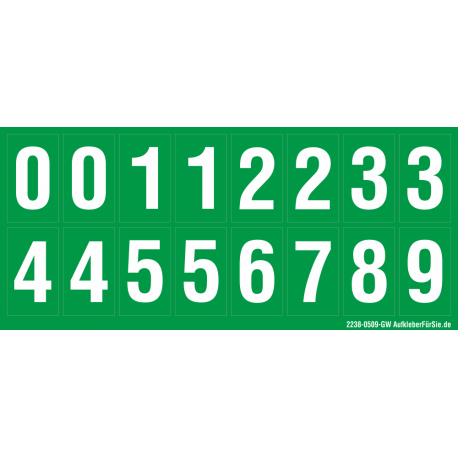 Buchstabenaufkleber, Grün - Weiß 0-5 + 0-9