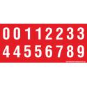 Buchstabenaufkleber, Rot - Weiß 0-5 + 0-9
