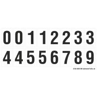 Buchstabenaufkleber, Weiß - Schwarz 0-5 + 0-9