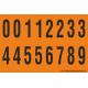 Buchstabenaufkleber, Orange - Schwarz 0-5 + 0-9