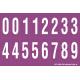 Buchstabenaufkleber, Lila - Weiß 0-5 + 0-9