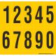 Buchstabenaufkleber, Gelb - Schwarz, Ziffern 0-9