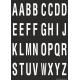 Buchstabenaufkleber, Schwarz - Weiß, Alphabet