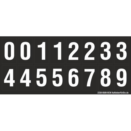 Buchstabenaufkleber, Schwarz - Weiß 0-5 + 0-9