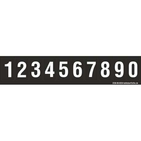 Buchstabenaufkleber, Schwarz - Weiß, Ziffern 0-9