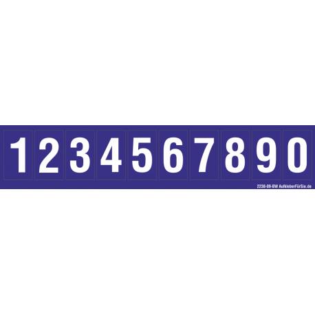 Buchstabenaufkleber, Blau - Weiß, Ziffern 0-9