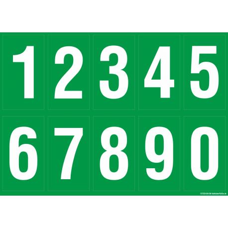 Buchstabenaufkleber, Grün - Weiß, Ziffern 0-9