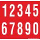 Buchstabenaufkleber, Rot - Weiß, Ziffern 0-9