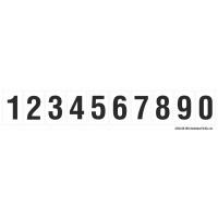 Buchstabenaufkleber, Weiß - Schwarz, Ziffern 0-9