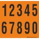 Buchstabenaufkleber, Orange - Schwarz, Ziffern 0-9