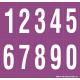 Buchstabenaufkleber, Lila - Weiß, Ziffern 0-9