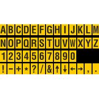 Buchstabenaufkleber, Gelb - Schwarz, identischer Buchstabe