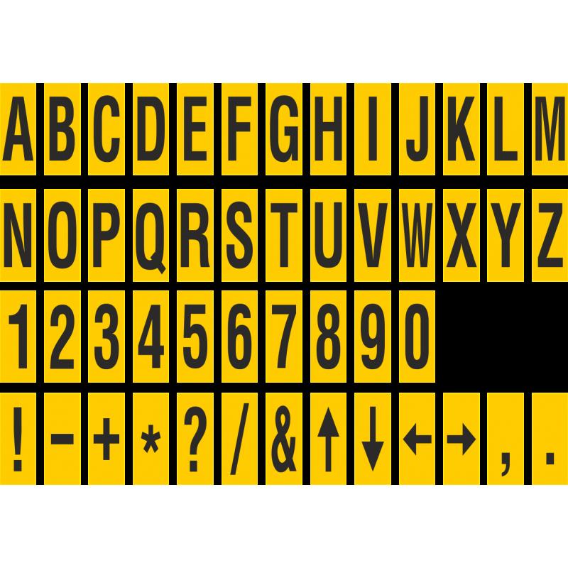 identische buchstabenaufkleber f r den innen wie au eneinsatz in der farbe gelb schwarz. Black Bedroom Furniture Sets. Home Design Ideas