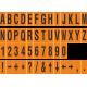Buchstabenaufkleber, Orange - Schwarz, identischer Buchstabe