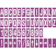 Buchstabenaufkleber, Lila - Weiß, identischer Buchstabe