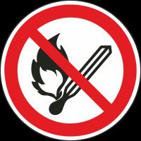 """Aufkleber """"Keine offene Flamme, Feuer, offene Zündquelle und Rauchen verboten"""""""