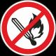 """Aufkleber """"keine offene Flamme"""""""