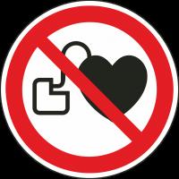 """Aufkleber """"Kein Zutritt für Personen mit Herzschrittmachern oder implantierten Defibrillatoren"""""""