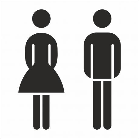 Aufkleber Gemischte Toilette (mit Hintergrund)