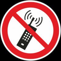 """Aufkleber """"Eingeschaltete Mobiltelefone verboten"""""""