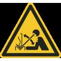 """""""Warnung vor schnell beweglichem Werkstück in der Abkantpresse""""-Fußbodenaufkleber"""
